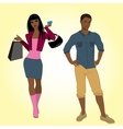 Man and shopping girl vector image