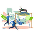 annual plan high jump office staffs run to the vector image vector image