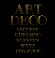 art deco gold outline alphabet vector image