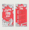asian food restaurant menu sketch template vector image vector image