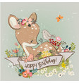 birthday little deer with flowers vector image vector image