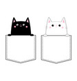 black white cat set love couple in pocket vector image vector image