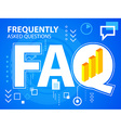 bright faq and bar chart on blue background vector image