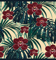burgundy orchid flower and green exotic palm vector image vector image