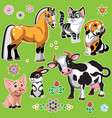 cartoon farm animals on green set one vector image