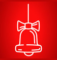 christmas bell icon outline style vector image