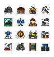 coal mining icons set vector image vector image