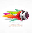 colorful abstract logo with letter K vector image vector image