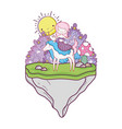 cute mermaid with unicorn in landscape vector image