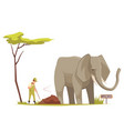 elephant at zoo cartoon composition vector image