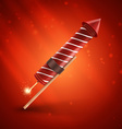 Firework rocket isolated on red background vector image vector image