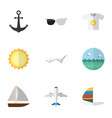 flat icon season set of spectacles yacht vector image vector image