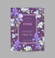 floral bloom spring frame with purple iris flowers vector image vector image