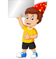funny boy wear red birthday hat hold blank board vector image vector image