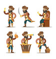 funny cartoon pirate with sword and treasure vector image vector image