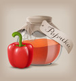 ground red pepper in a glass jar and the fruit of vector image