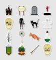 halloween color sticker icon set vector image
