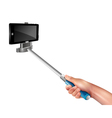 Hand With Selfie Stick vector image vector image