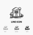 home house apartment building office icon in thin vector image