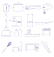 home kitchen outline icons theme set eps10 vector image vector image