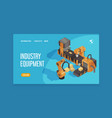 isometric robot automation landing page vector image vector image