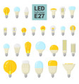 led light e27 bulbs colorful icon set vector image vector image