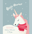 magical unicorn at winter scine merry christmas vector image