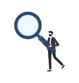 man holding magnifier human inspection vector image vector image