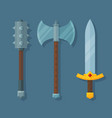 medieval fantasy weapons flat mace axe and sword vector image
