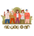 mix race men and women call to stay at home vector image
