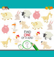 one of a kind game with cartoon farm animals vector image