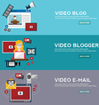 Online video email design concept set with blogger vector image vector image