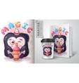 penguin eat ice cream poster and merchandising vector image vector image