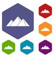 pyramids in giza icons set hexagon vector image vector image