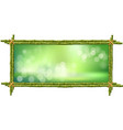 rectangle green bamboo stems border frame with vector image