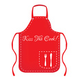 red apron with text kiss cook vector image vector image