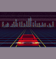 red car racing to night city over laser grid
