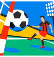 scorer forward football player with football ball vector image