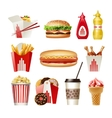 Set beautiful cartoon icons of fast food vector image