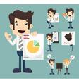 set businessman characters presentation graph vector image vector image
