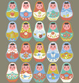 set nesting dolls on a gray background vector image