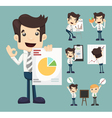 Set of businessman characters presentation graph vector image