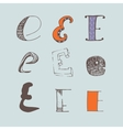 set of colorful alphabet letters E vector image vector image