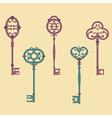set of cute vintage keys vector image vector image