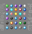set of popular social media icons vector image