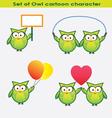 set owl cartoon character vector image vector image
