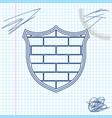 shield with cyber security brick wall line sketch vector image vector image