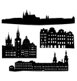 silhouette of prague vector image vector image
