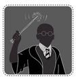 silhouette wizard boy avatar vector image