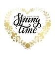 Spring time letteringGold floral wreath vector image